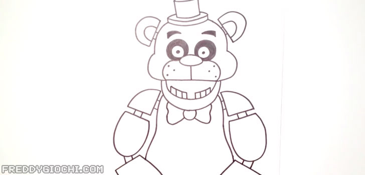 Disegna il corpo e le braccia di Freddy Fazbear